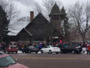 Marchers gather outside All Souls for Women's March 2018